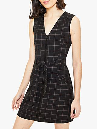 Oasis Check Zip Shift Dress, Greyy/Multi