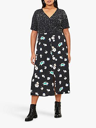Oasis Curve Floral Print Midi Dress, Black/Multi