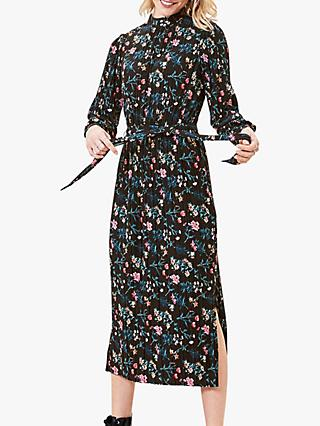 Oasis Floral Pleated Midi Dress, Multi/Black