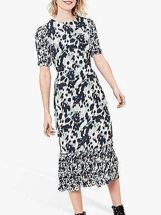Oasis Animal Print Midi Dress, Mint/Multi