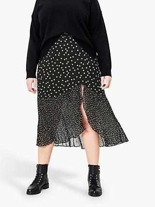 Oasis Curve Patch Spot Skirt, Black/White
