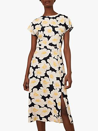 Warehouse Nicky Floral Print Side Slit Midi Dress, Multi