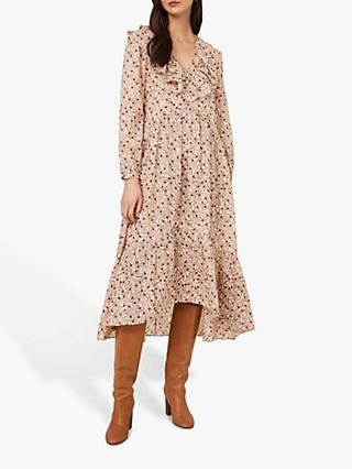 Oasis Floral Ruffle Midi Dress, Neutral