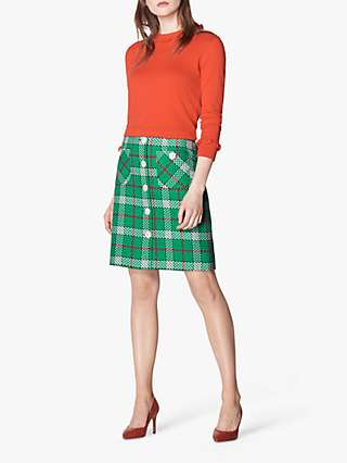 L.K.Bennett Lowri Check Tweed Mini Skirt, Green/Multi