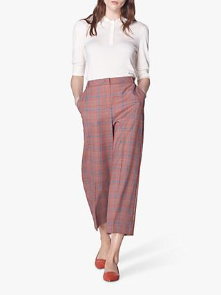 L.K.Bennett Eunice Prince of Wales Check Wide Leg Trousers, Red Check