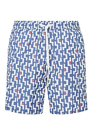 Hartford Labyrinth Print Swim Shorts, Blue