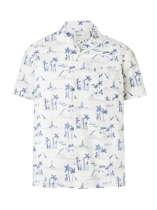 Hartford Aloha Print Short Sleeve Shirt, White/Blue