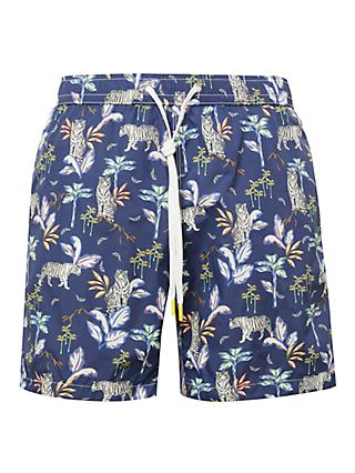 Hartford Jungle Print Swim Shorts, Blue