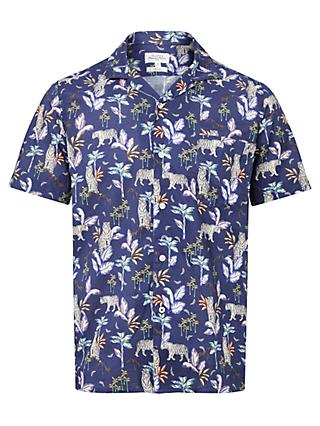 Hartford Jungle Print Short Sleeve Shirt, Blue