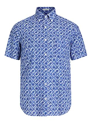 Hartford Hawaiian Tie Dye Short Sleeve Shirt, Blue