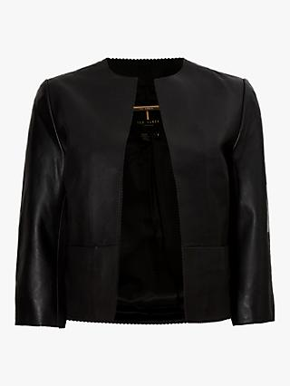 Ted Baker Morisr Leather Cropped Jacket, Black