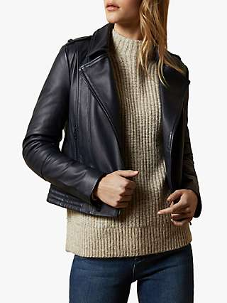 Ted Baker Idda Leather Biker Jacket, Navy