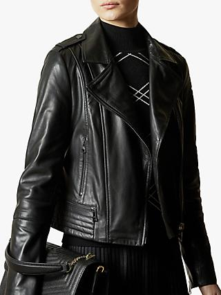 Ted Baker Idda Leather Biker Jacket, Black