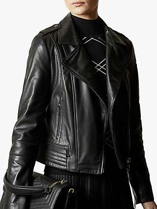 Ted Baker Idda Leather Biker Jacket, Black