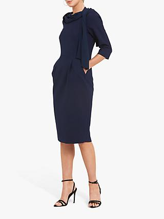 Helen McAlinden Ivy Scarf Neck Dress, Navy