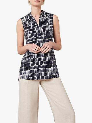 Jaeger Abstract Print Sleeveless Tunic Top, Navy/White