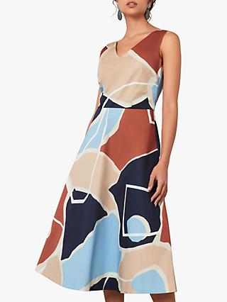 Jaeger Abstract Print Flared Midi Dress, Multi