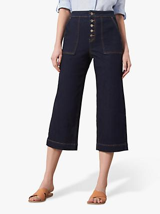 Jaeger Wide Leg Cropped Jeans, Denim