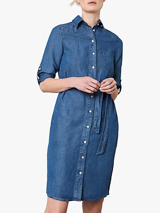 Jaeger Belted Chambray Shirt Dress, Denim