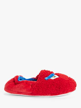 John Lewis & Partners Children's Frowning Monster Slippers, Red