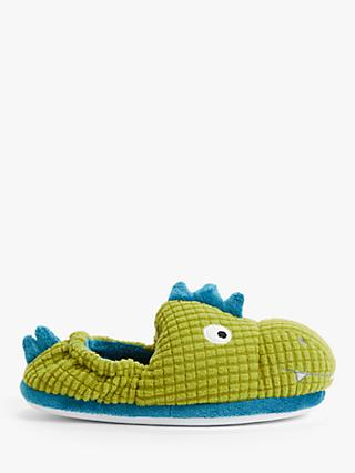 John Lewis & Partners Children's Dinosaur Slippers, Green