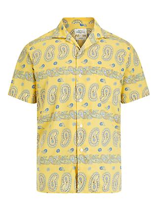 Hartford Big Paisley Print Short Sleeve Shirt, Yellow