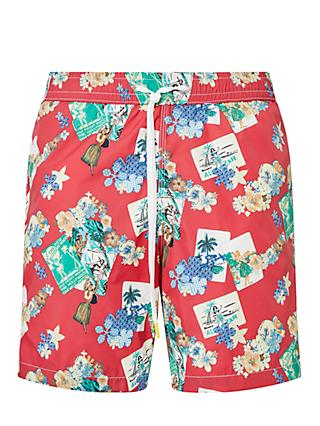 Hartford Hawaiian Postcard Print Swim Shorts, Red