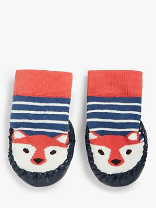 John Lewis & Partners Baby Fox Moccasin Slipper Socks, Multi