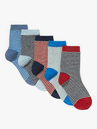 John Lewis & Partners Children's Nautical Stripe Socks, Pack of 5, Multi