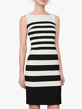 Jaeger Mono Stripe Sleeveless Shift Dress, Black/White