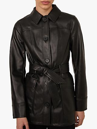 Warehouse Faux Leather Belted Jacket, Black