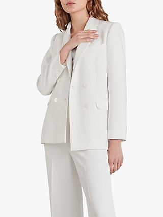 Whistles Annie Double Breasted Wedding Blazer, Ivory
