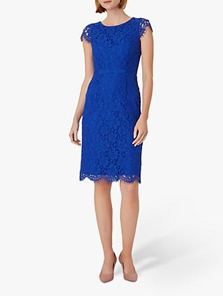 Hobbs Elora Lace Mini Dress, Cobalt