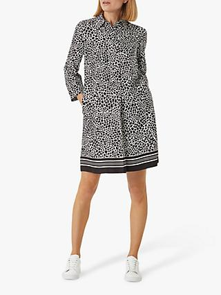 Hobbs Marci Animal Print Mini Dress, Black Ivory