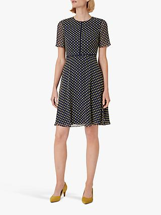 Hobbs Cecily Spot Dress, Midnight/Yellow