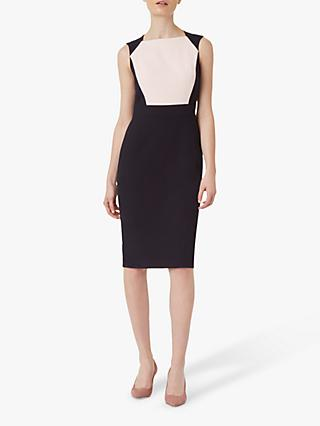 Hobbs Petite Shea Pencil Dress, Navy/Pink