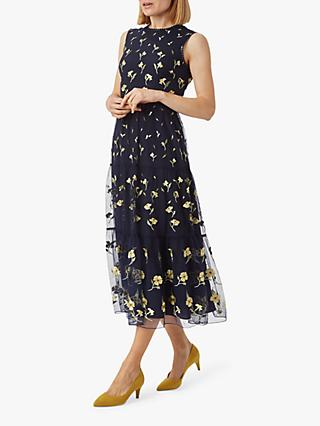 Hobbs Bethany Floral Print Midi Dress, Midnight Yellow