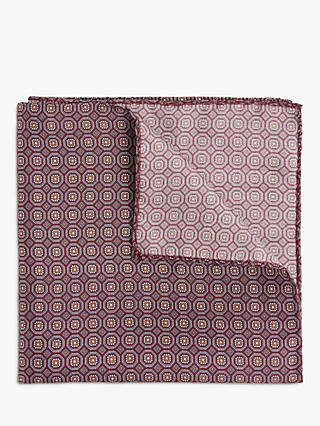 John Lewis & Partners Silk Small Geo Pocket Square, Red