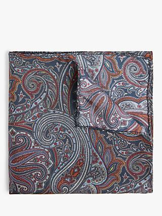 John Lewis & Partners Silk Paisley Pocket Square, Blue