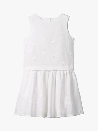 Mini Boden Girls' Strawberry Broderie Dress, White