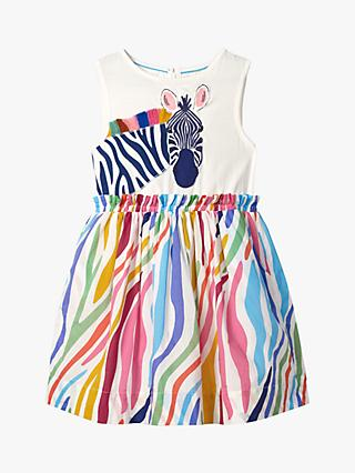 Mini Boden Girls' Zebra Safari Appliqué Dress, Multi
