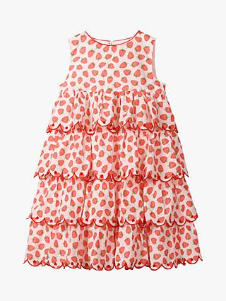 Mini Boden Girls' Strawberry Tiered Embroidered Dress, Peach