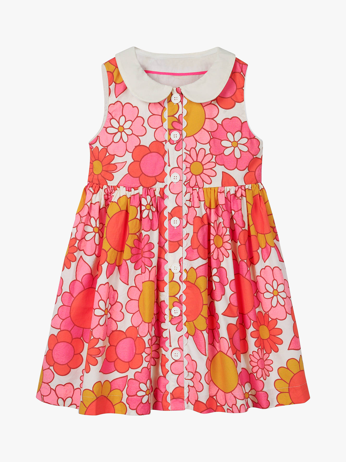 Buy Mini Boden Girls' Woven Floral Collared Dress, Pink/White, 2-3 years Online at johnlewis.com