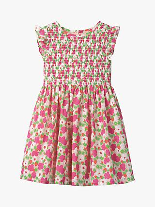 Mini Boden Girls' Smocked Woven Floral Dress, Pink Berry Bloom