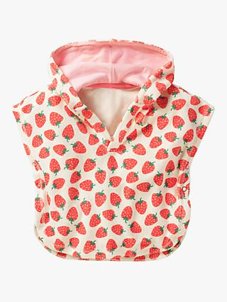 Mini Boden Baby Strawberry Print Towelling Throw-on, Red