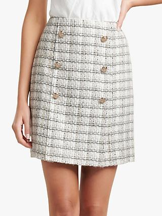 Forever New Jackson Boucle Check Mini Skirt, Cream/Grey