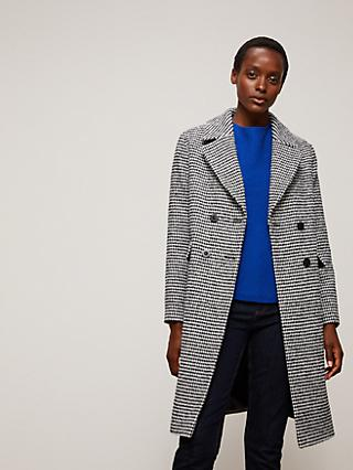 John Lewis & Partners Wool Blend Dogtooth Boucle Car Coat, Black