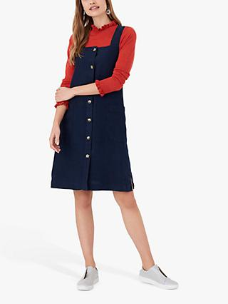Brora Linen Square Neck Dress, Navy