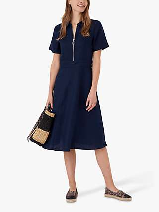 Brora Linen Knee Length Tennis Dress, Navy