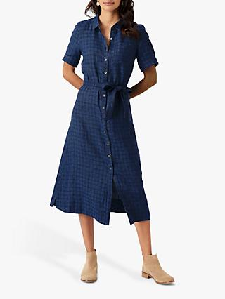 Brora Checked Linen Midi Shirt Dress, Chambray